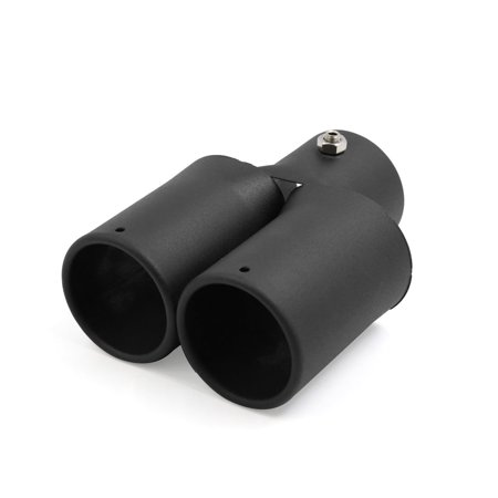 Black Car Double Outlet Exhaust Muffler Trim Tip Y Type Pipe 2 4 Inch Inlet