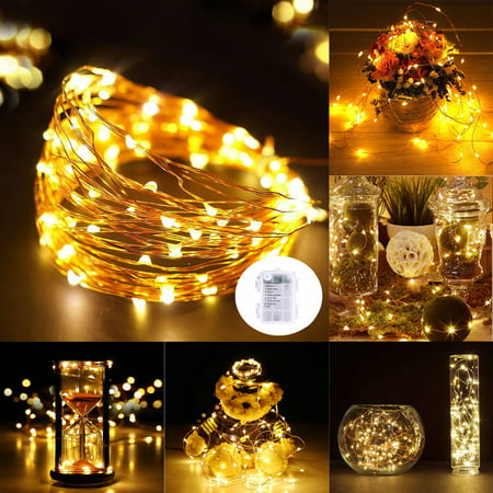 Lightsetc 32ft 100 LEDs 65ft 200 LEDs Copper Wire Fairy String Light Warm White 3AA Batteries Powered 8 Modes Party Xmas Decor Rope Flexible Light