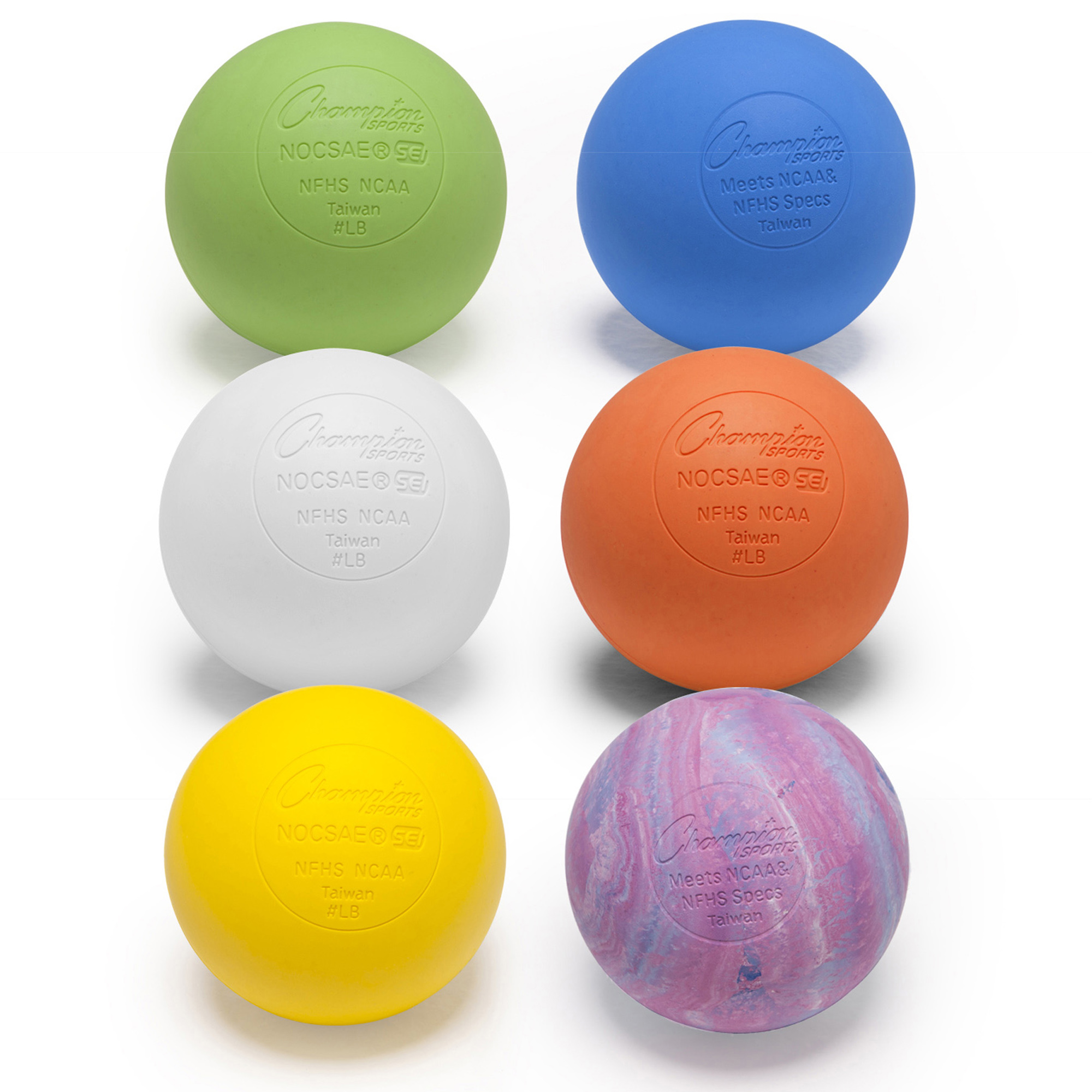 Champion Sports Official Lacrosse Ball Set, 6 Assorted Colors