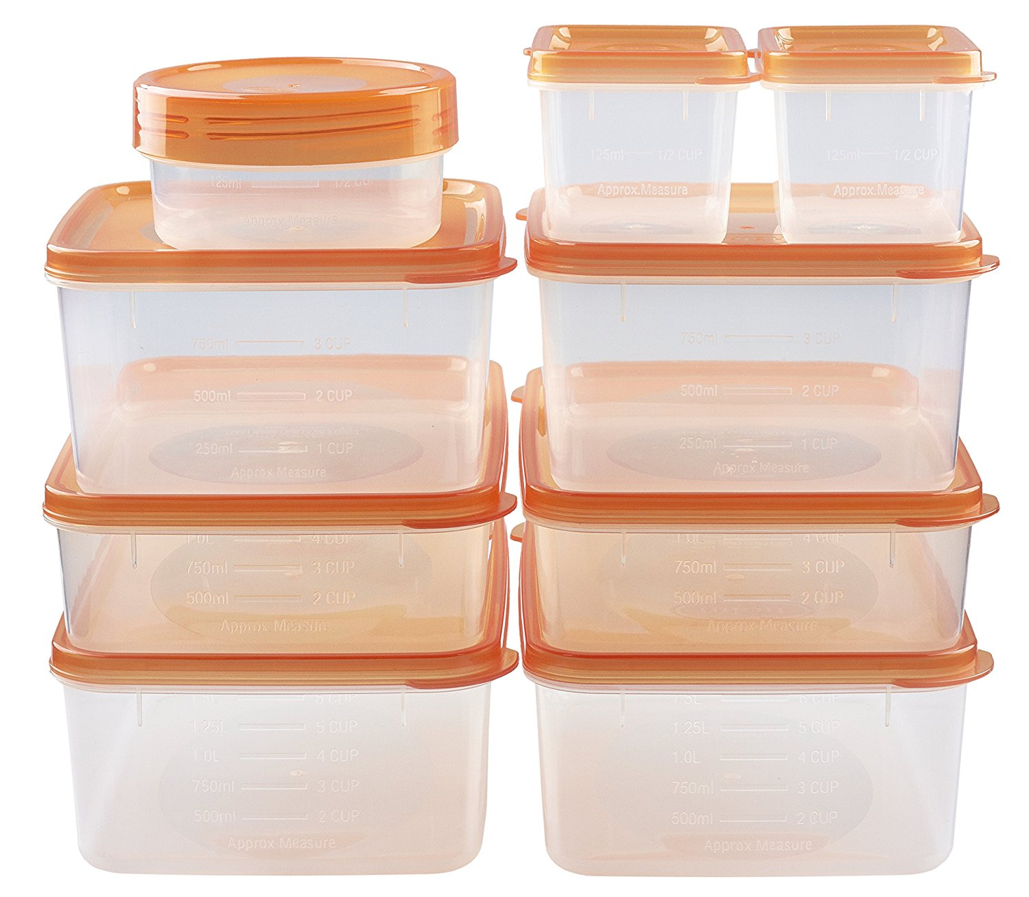 Superbe Holm BPA Free Reusable Square Food Storage Containers With Lids (Orange)  Leak Proof   Great For Meal Prep, Baby Or Gourmet Foods   9 PCS Set    Walmart.com