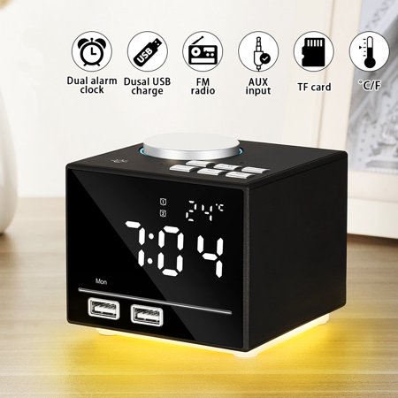 Multi-function LED Alarm Clock Smart Clock Speaker USB Charging Phone MP3 TF AUX Music for Home Office ()