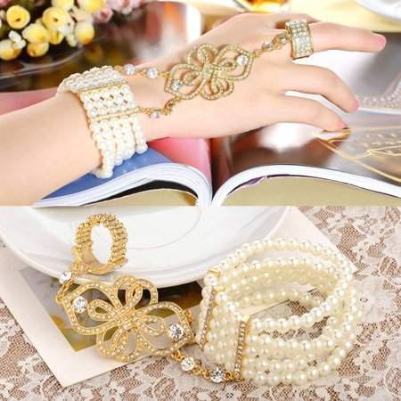 Great Gatsby Inspired Bridal Flower Pattern Art Deco Bracelet Imitation Simulated Pearl Crystal Bracelet Adjustable Ring Set 1920s Flapper Jewelry Accessories Alexandrite Crystal Bracelet