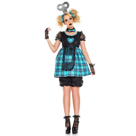 Doll Dresses For Halloween (Music Legs 70830-SM 5 Piece Checker with Mesh Rag Doll Dress with Bloomer Shorts, Wind-Up Headpiece, Hair Clips & Choker - Small &)