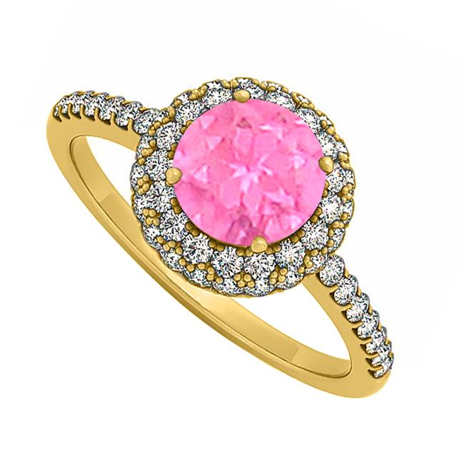 Fine Jewelry Vault UBUNR50534Y14CZPS Double Halo Pink Sapphire & CZ Engagement Ring in 14K Yellow Gold, 52 Stones