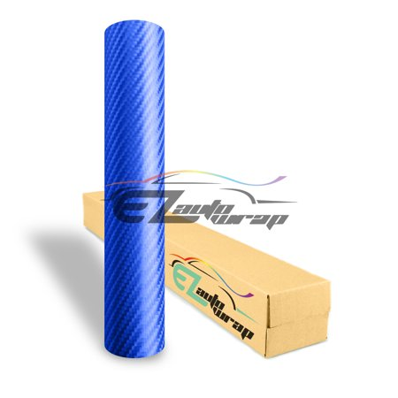 EZAUTOWRAP 4D Semi Gloss Blue Carbon Fiber Car Vinyl Wrap Sticker Decal Film Sheet Decoration With Air Release Techology