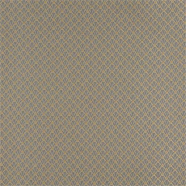 Designer Fabrics D356 54 in. Wide , Blue And Gold Small Scale Shell Jacquard Woven Upholstery Fabric