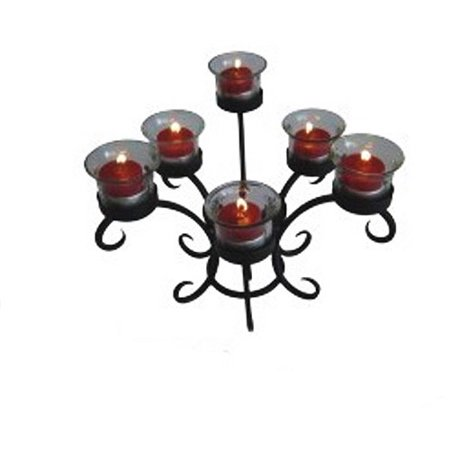 Charleston Wrought Iron Tabletop Candle Holder, Charcoal