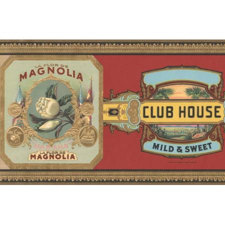 Vintage Pipe Cigar Brands Red Wallpaper Border Retro Design, Roll 15' x 6.6'' - image 3 of 3