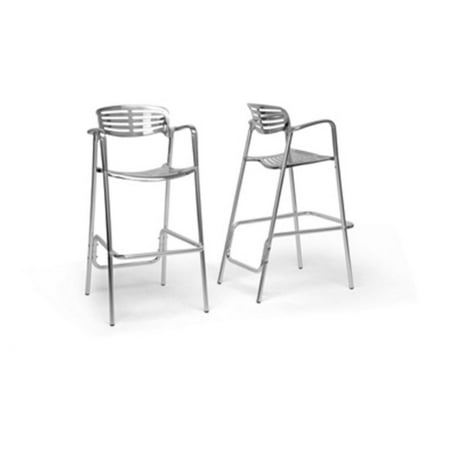 Wholesale Interiors Ethan 34   Modern Aluminum Bar Height Stool  Set Of 2  Silver