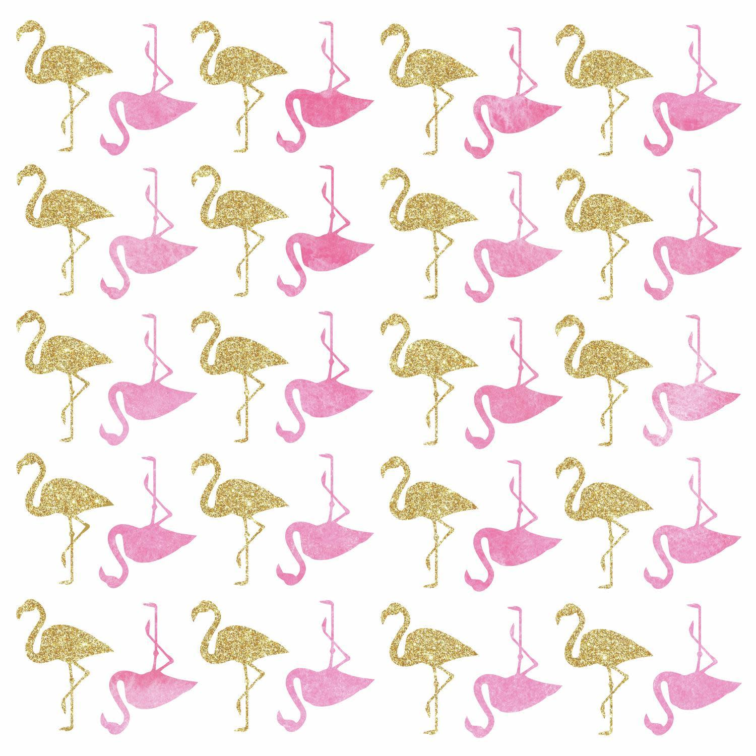 Flamingo Peel and Stick Wall Decals with Glitter