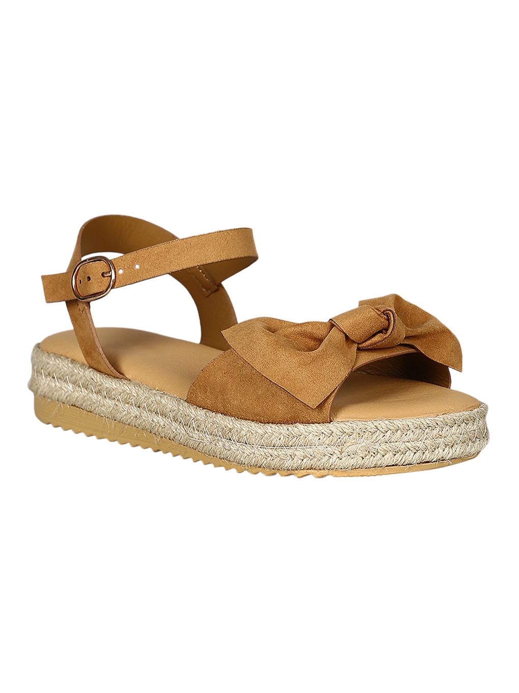 Women Open Toe Bow Accent Espadrille Flatform Sandal