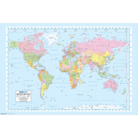 World Map Geography Atlas Educational Earth Latitude Classroom Poster   18X12 Inch