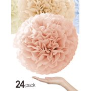 "Natural Colors Tissue Paper Pom Poms [24 Pack - Sizes 14"", 10"", 8"", 6"" in White, Champagne, Peach, Ivory] Quality Party Pompoms - Perfect Paper Flowers for Weddings, Showers & Room Decorations"
