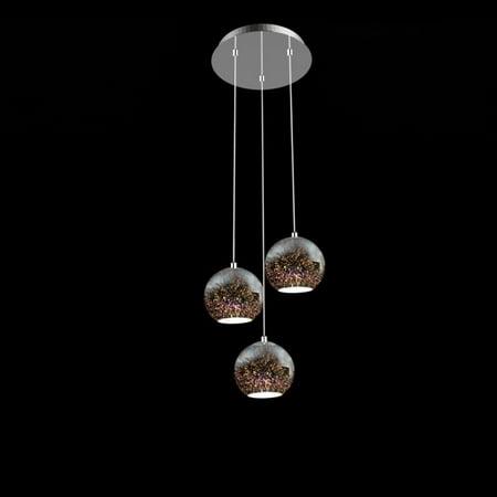 SereneLife SLLMP21 - Pendant Light / Triple Hanging Lamp Ceiling Light Fixture, Sculpted Glass Lighting Accents