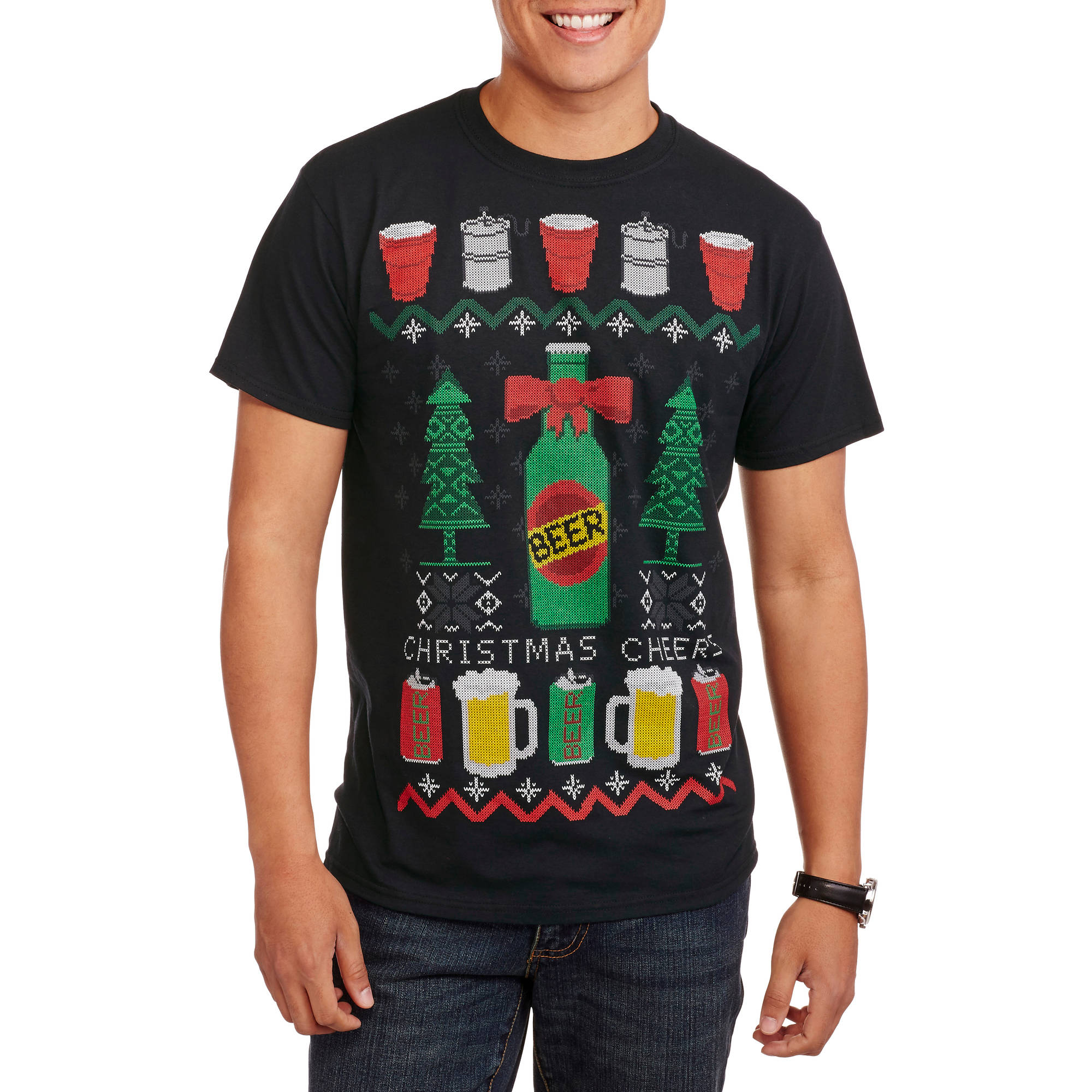 Christmas Men's Beer Fair Isle Tee