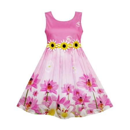 Girls Dress Sunflower Bubble Lily Flower Garden Print 4 - Garden Girls