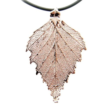 Rose Gold-Plated Birch Leaf Pendant Sterling Silver Rubber Cord Necklace, 16
