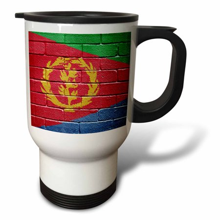 3dRose National flag of Eritrea painted onto a brick wall Eritrean, Travel Mug, 14oz, Stainless Steel