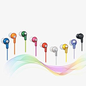 Panasonic ErgoFit Best in Class In-Ear Earbud Headphones RP-HJE120-R (Red) Dynamic Crystal Clear Sound, Ergonomic Comfort-Fit, iPhone, Android Compatible, Noise Isolating