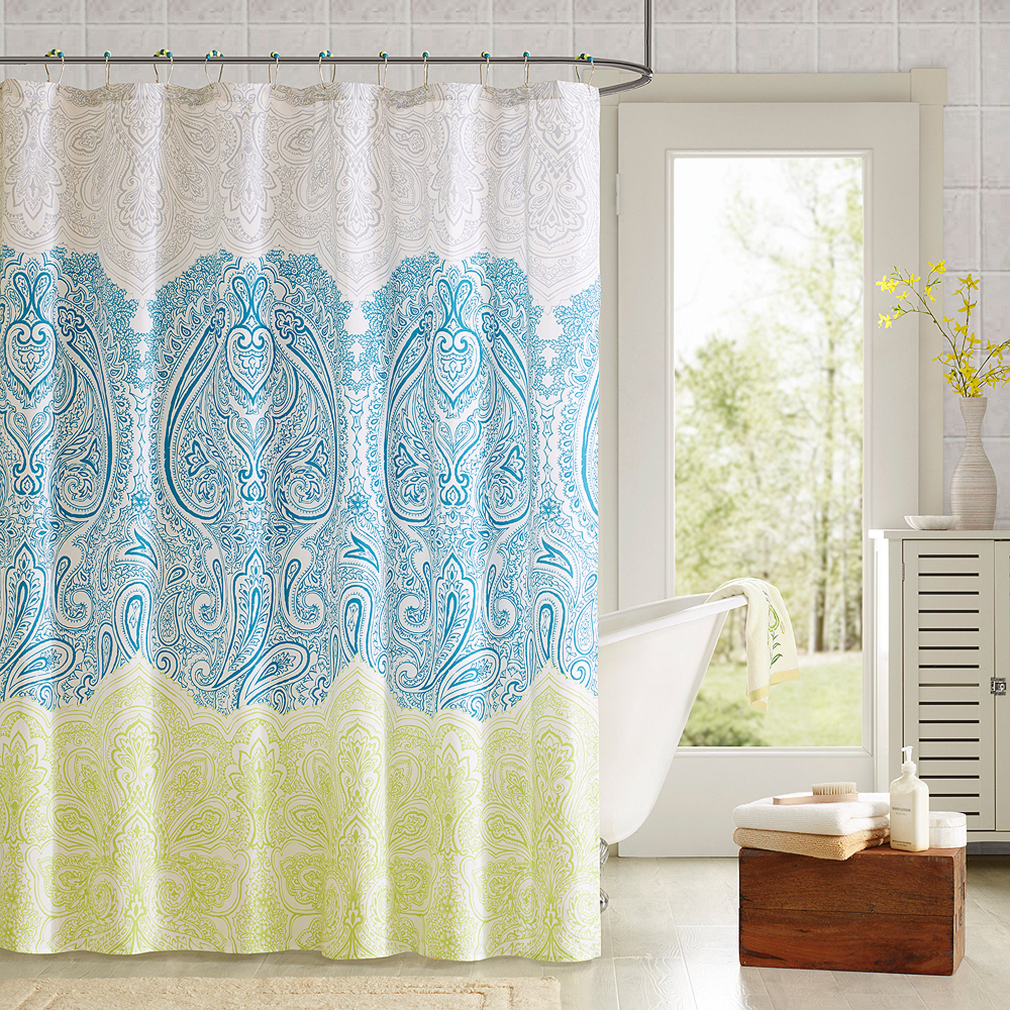 Image of 90 Degrees by Design Lab Lacy Printed Shower Curtain and Hook Set