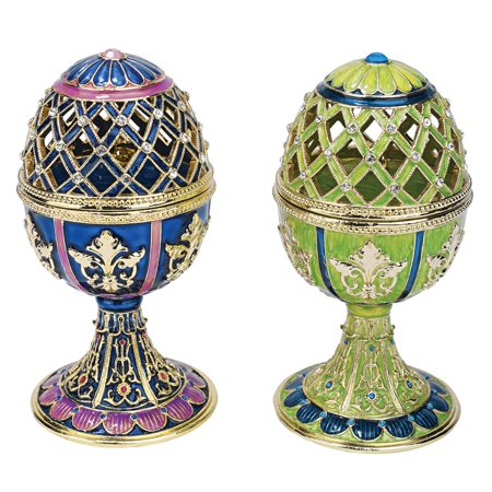 - Design Toscano Jeweled Trellis Collection Romanov Style Enameled Eggs: Bleue and Verte