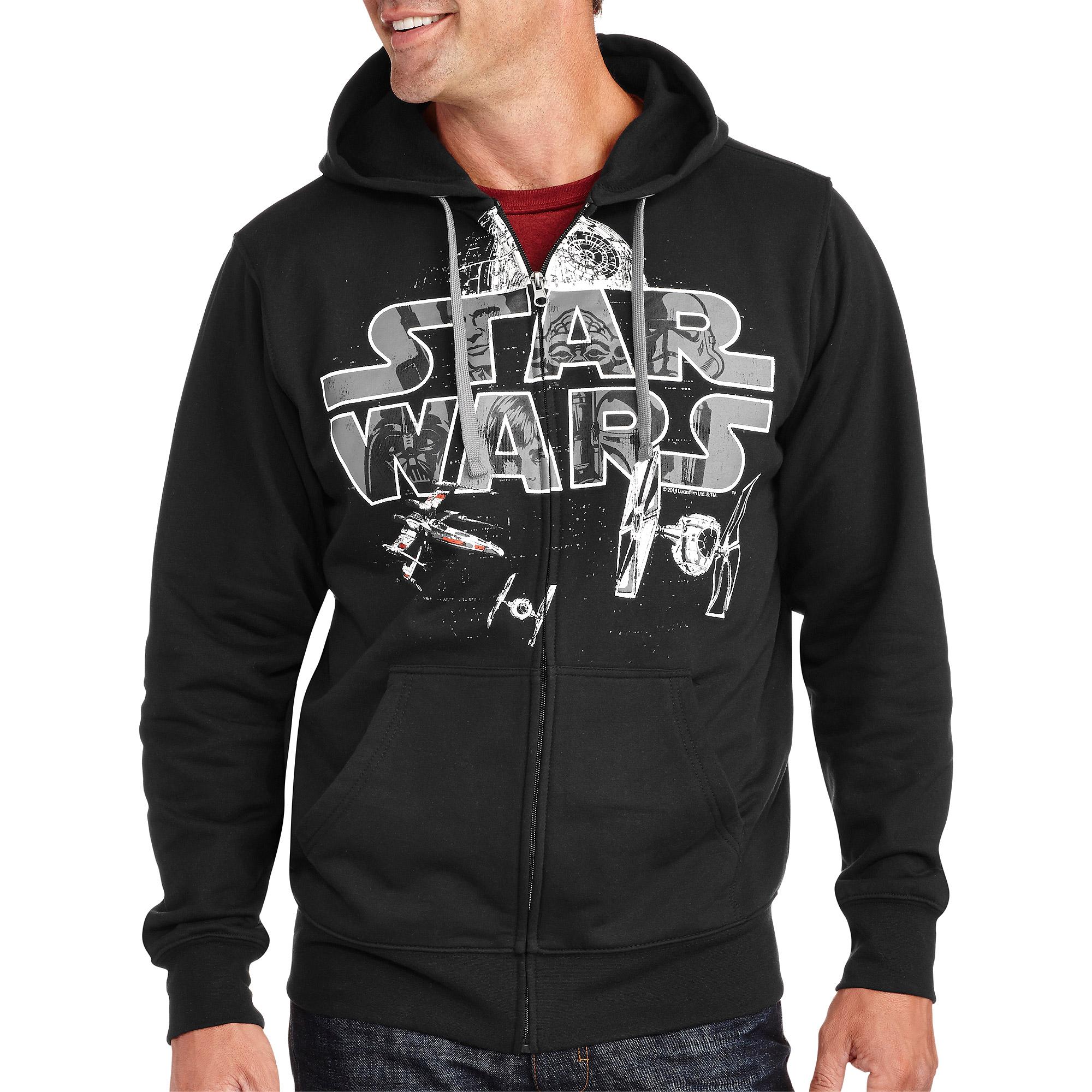 star war men's full zip graphic hoodie - walmart