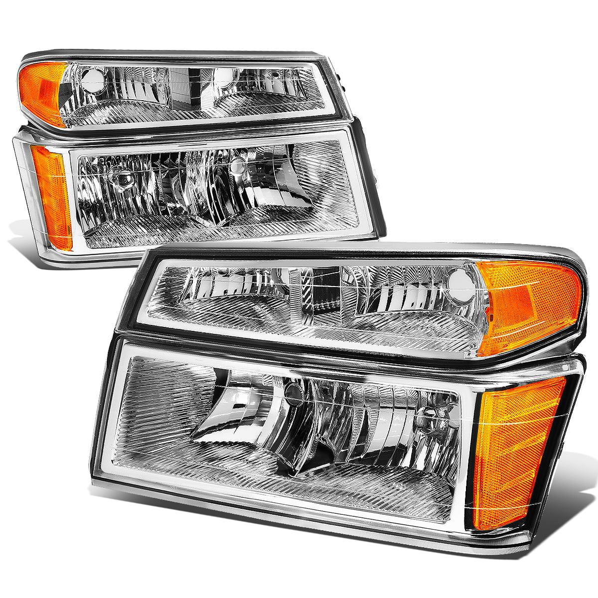 For 04-12 Chevy Colorado/GMC Canyon / Isuzu i280 i290 i350 4Pcs Headlight + Bumper Lamp Chrome Housing Amber Corner 05 06 07 08 09 10 11