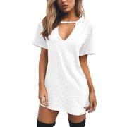 Sexy Women Mini Dress Tops Long T-shirt Ladies Casual Party Mini Dress Blouse Tops Plus Size Summer Short Sleeve Sundress Long Tee Tops