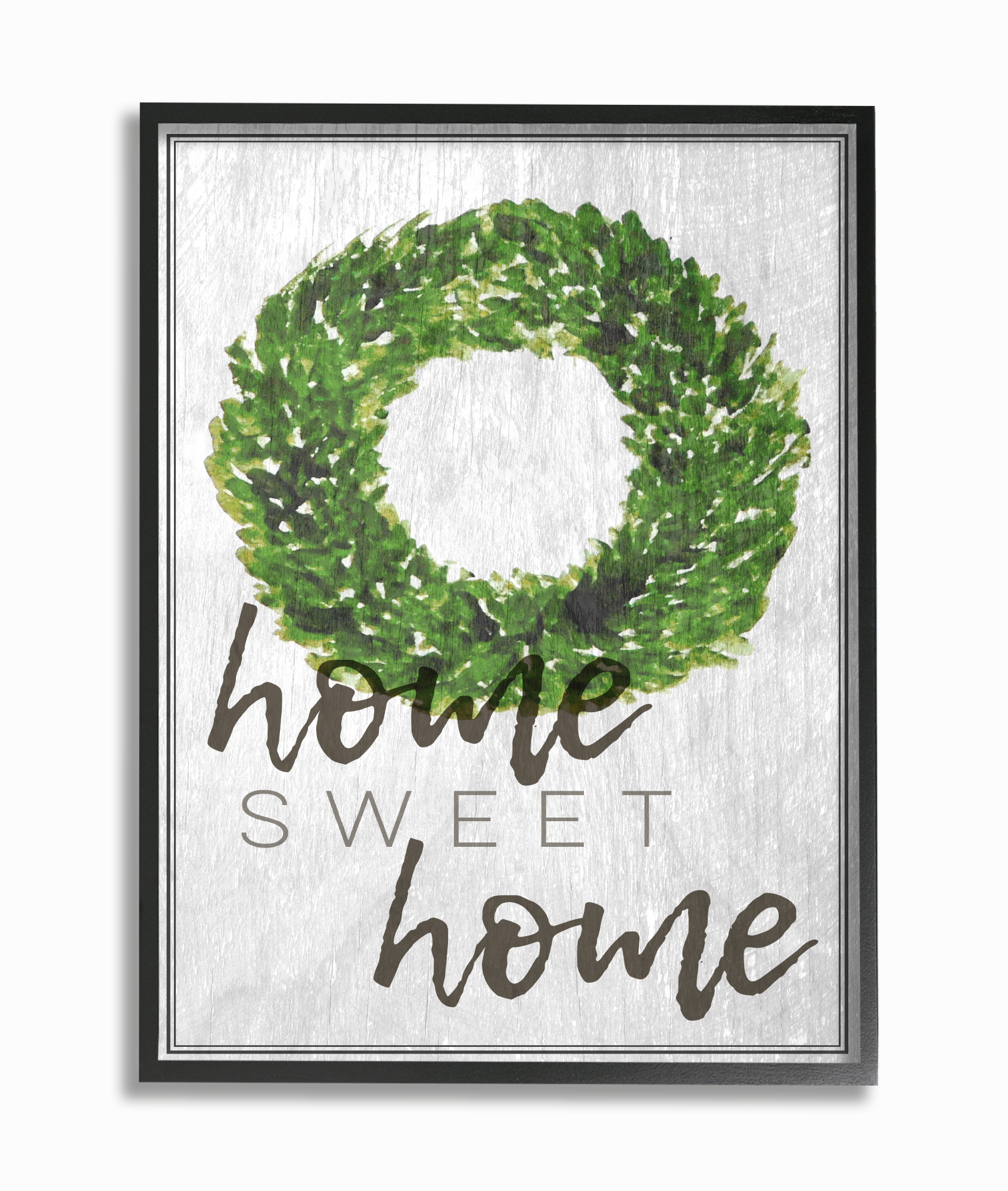 The Stupell Home Decor Collection Home Sweet Home Foliage Wreath Framed Giclee Texturized... by Stupell Industries