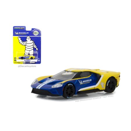 GREENLIGHT 1:64 HOBBY EXCLUSIVE - 2017 FORD GT - MICHELIN TIRES (BLUE/YELLOW) - Michelin Baby