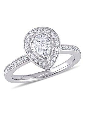 5/8 Carat T.W. Diamond 14k White Gold Pear-Shaped Halo Engagement Ring