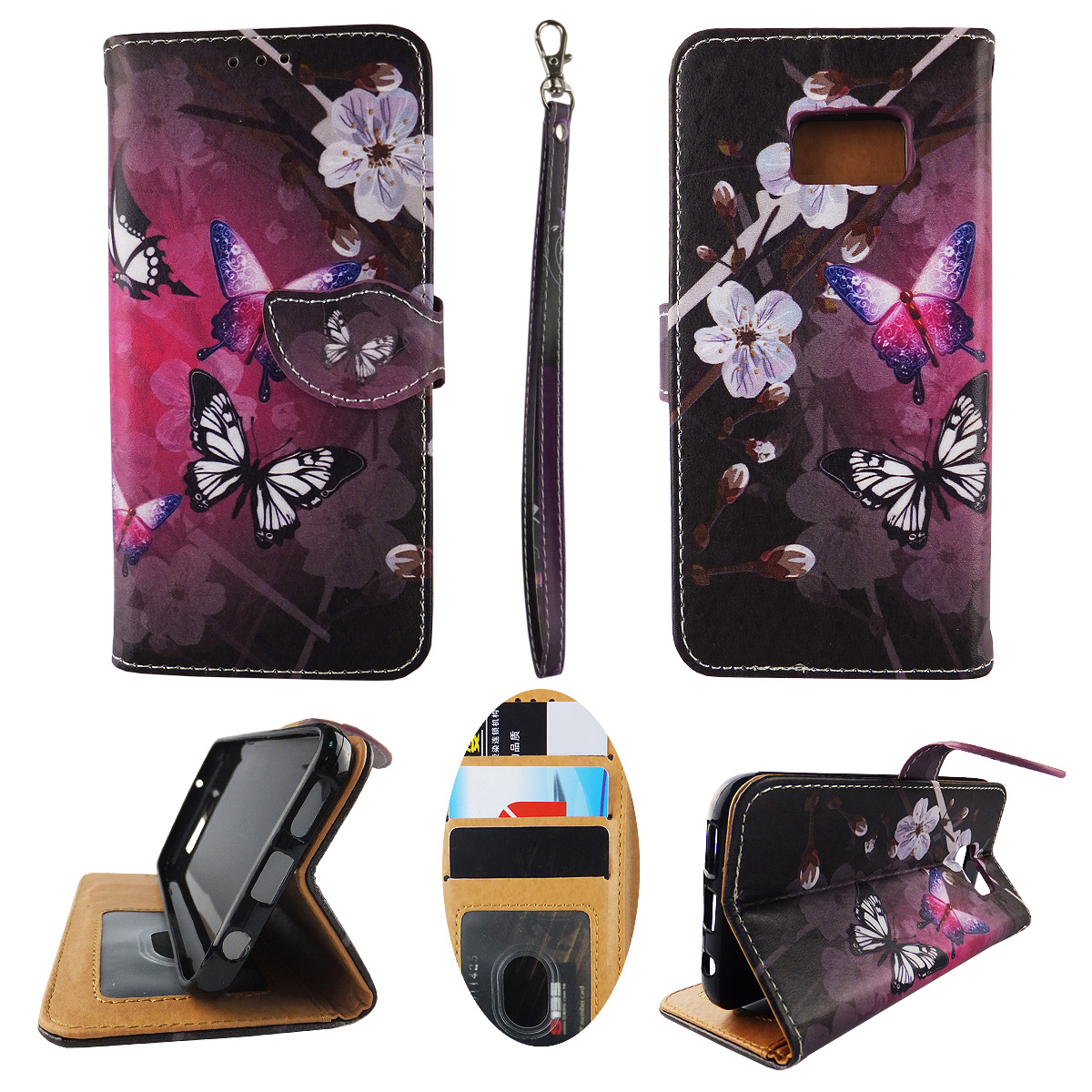 White Butterfly Purple Wallet Folio Case for Samsung Galaxy S7 Edge Fashion Flip PU Leather Cover Card Slots & Stand