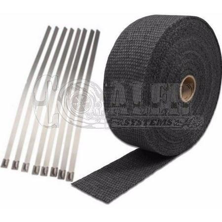 Black Exhaust Wrap Kit; 2 inch x 50 ft Roll w/ 8 Stainless Steel Zip Ties