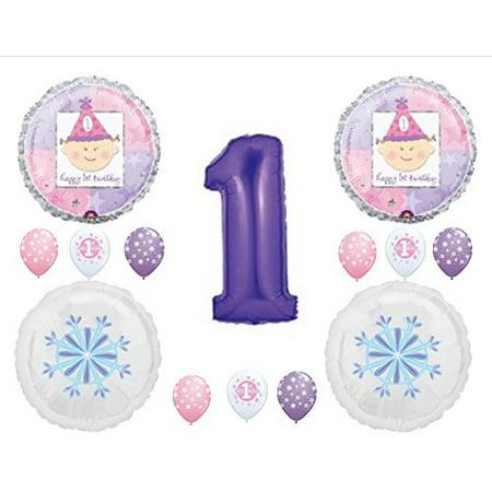 Winter Snow Decorations (PURPLE WINTER ONE-DERLAND 1st Birthday Balloons Decoration Supplies First)