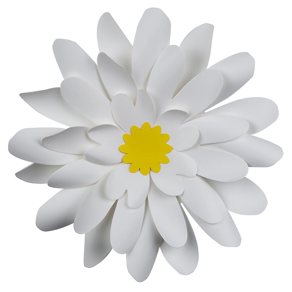 Quasimoon 8 Pre Made White Daisy Paper Flower Wedding Backdrop Wall