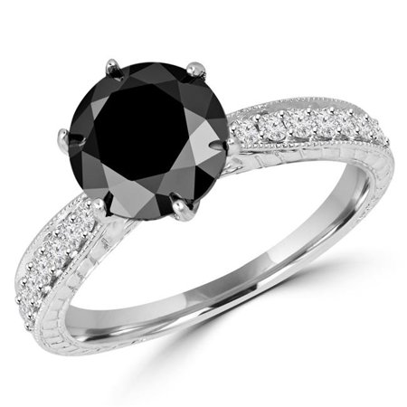 Majesty Diamonds MD180235-6 3.2 CTW Round Black Diamond Vintage Solitaire with Accents Engagement Ring in 14K White Gold - Size 6 - image 1 of 1
