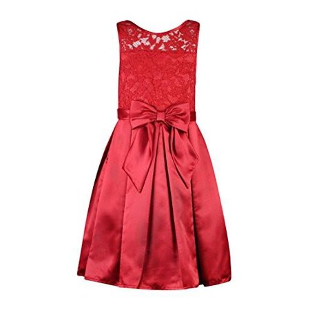 70e9c4406a5 Bloome - Bloome Big Girls 7-16 Lace to Satin Red Holiday Dress - Tween  Dresses - Walmart.com