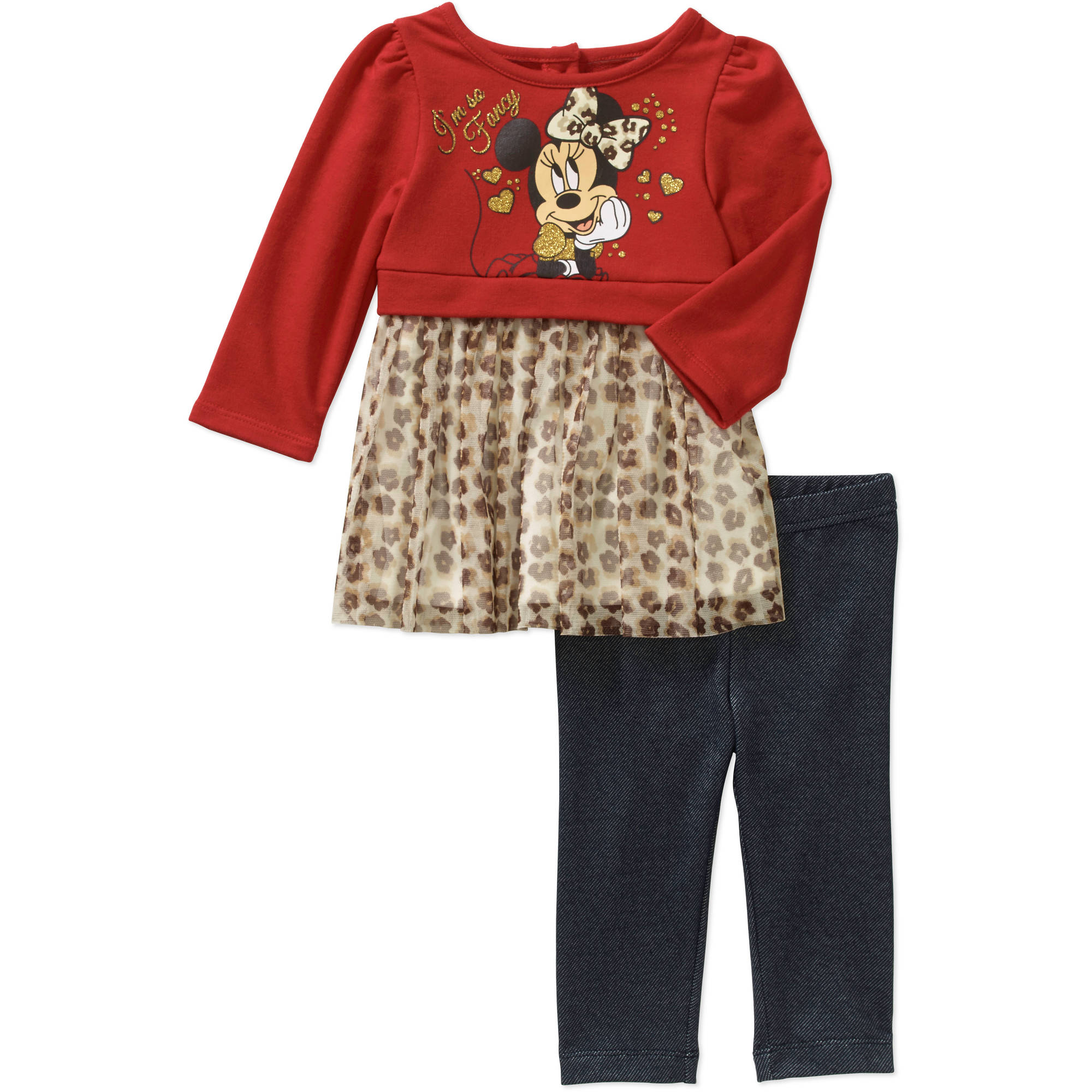 Minnie Mouse Newborn Baby Girls' Skirted Tunic and Leggings Outfit Set