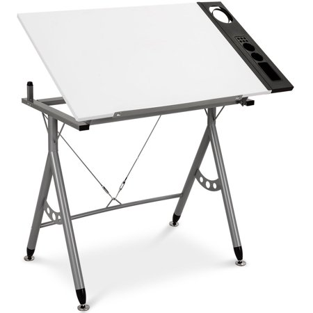"""GHP 40.5""""x23.5""""x32.5"""" White Density Board Adjustable Angle Drafting Table w Side Tray"""