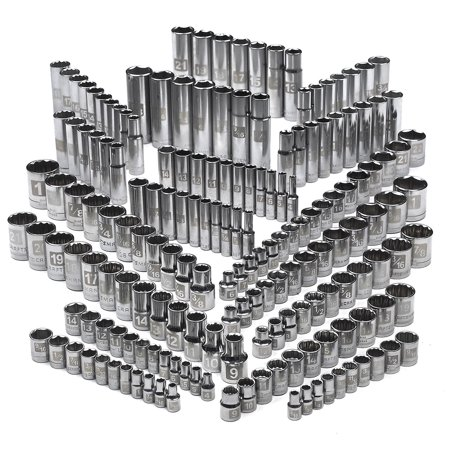 12 Drive Deep Socket - Craftsman Socket Set 176 pc. Easy-to-Read 3/8 in. 1/4 in. & 1/2 in. Drive 6 & 12 Point Sockets Standard & Deep SAE Metric Mechanics Hand Tool 34032