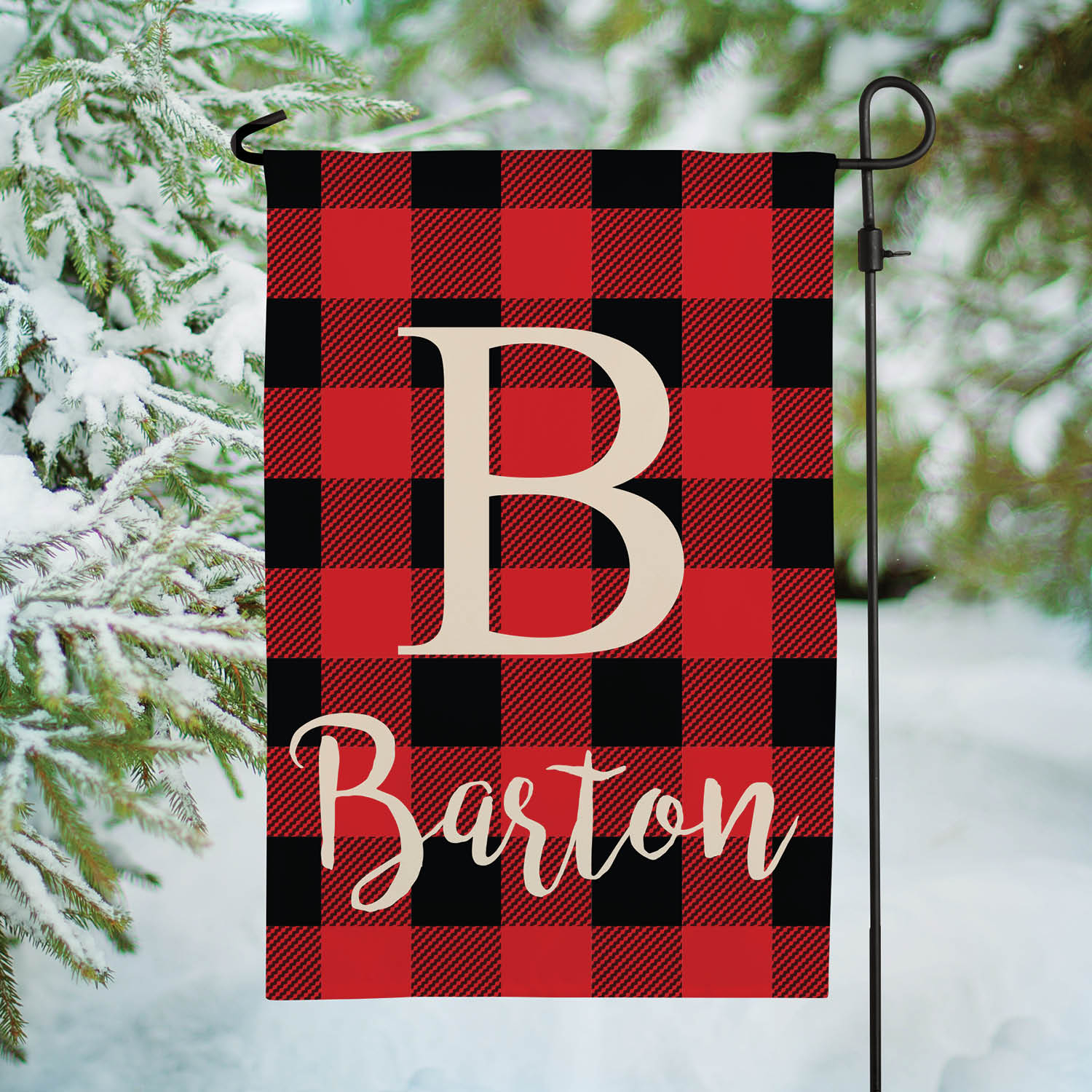 Holiday Plaid Personalized Garden Flag