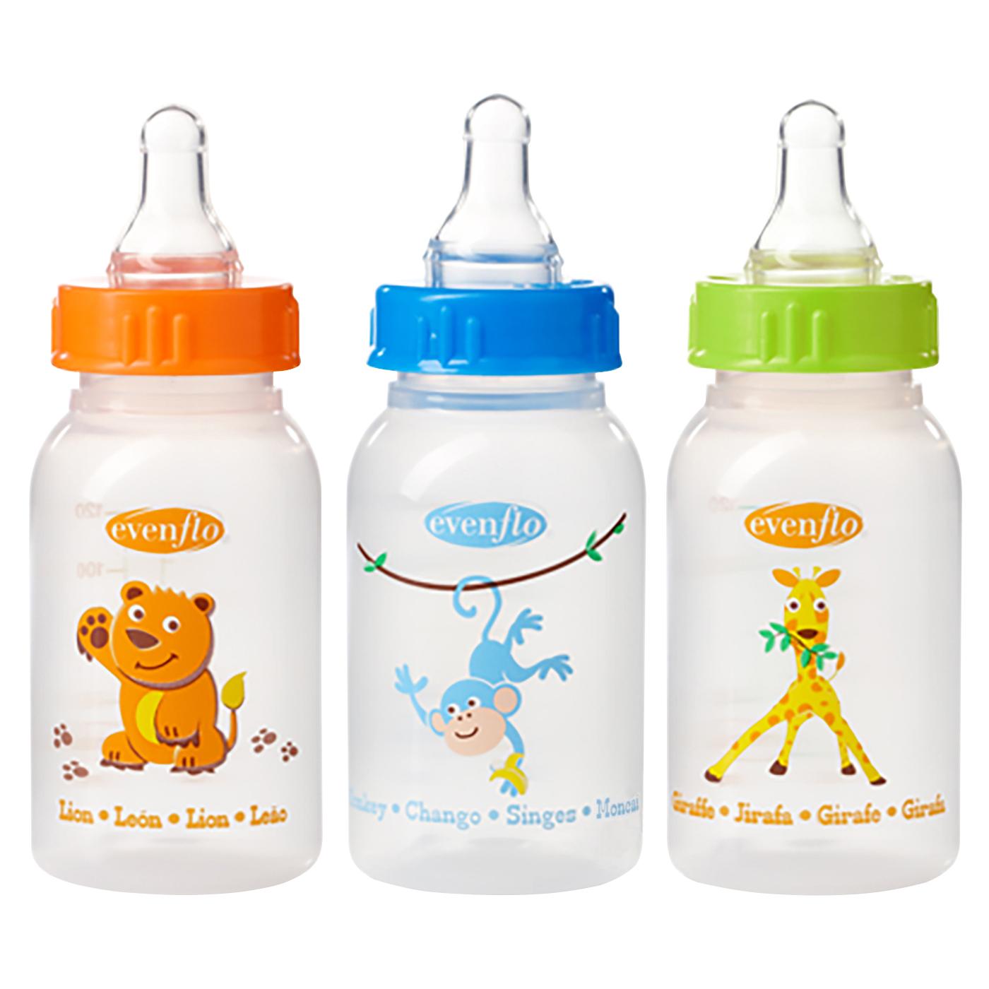 Evenflo Zoo Friends Bottle with Standard Nipple - 4 Ounce - 3 Count - Orange/Blue/Green