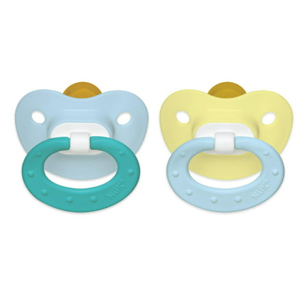 NUK Natural Shape Orthodontic Pacifiers, Latex, 0-6 Months (Assorted Colors) 2 ea ()
