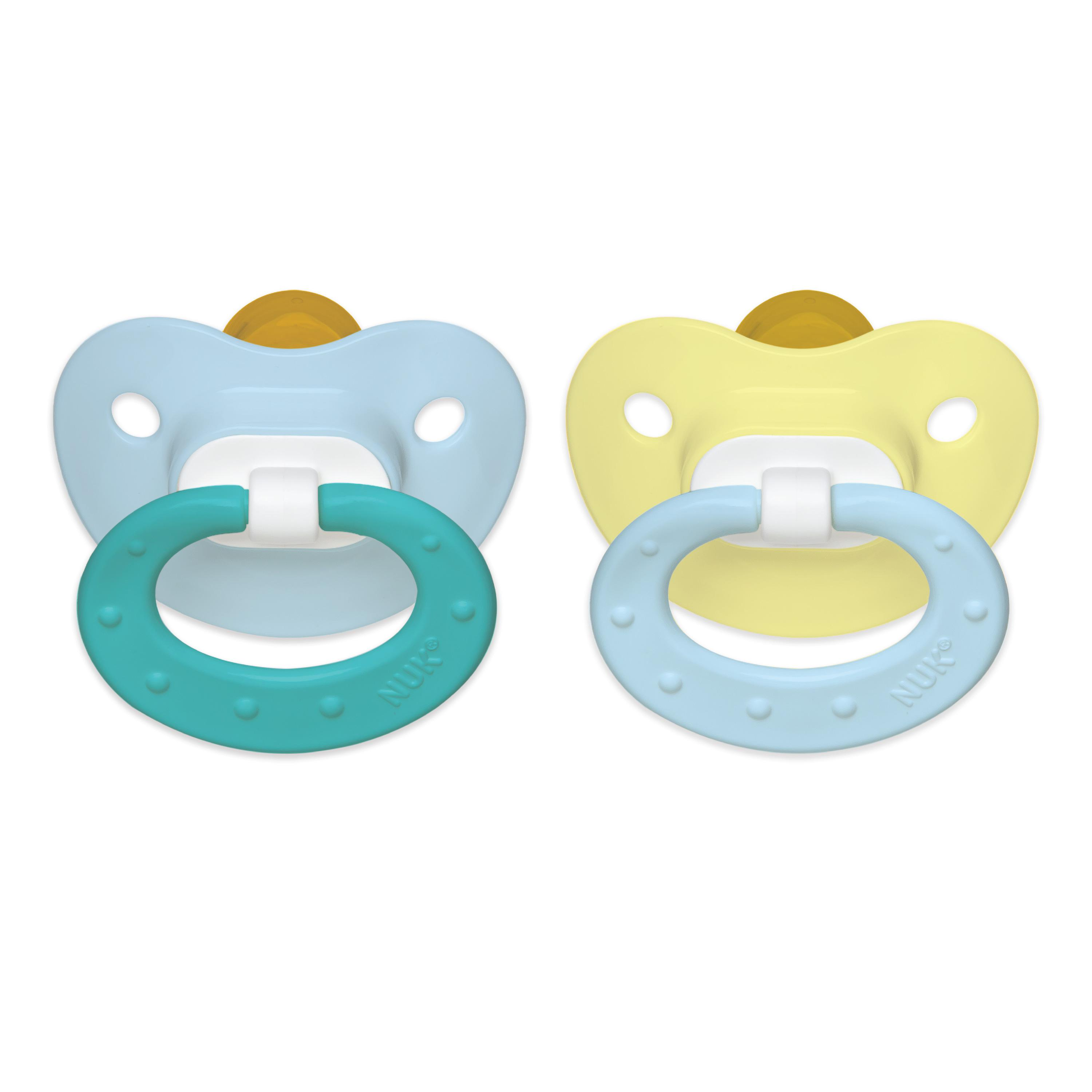 NUK Natural Shape Orthodontic Pacifiers, Latex, 0-6 Months (Assorted Colors) 2 ea