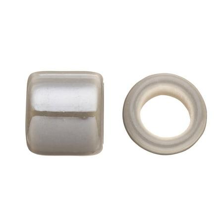 Tube Licorice Ceramic Bead Fits 10x8mm Licorice Leather Grey Glazed -