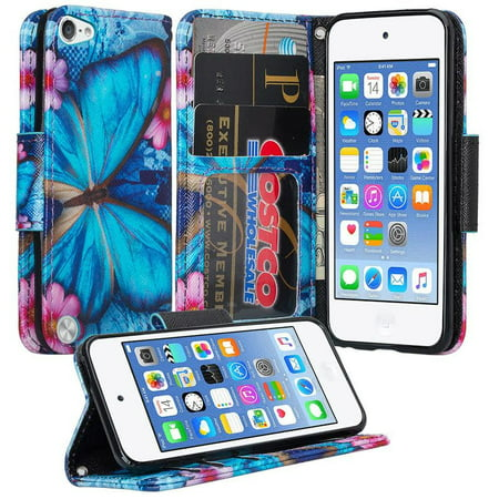 Apple iPod Touch 5, Ipod Touch 6, Touch 7, Wrist Strap Kickstand Pu Leather Magnetic Wallet Case Cover with Card Slots - Blue Butterfly (Apple Ipod Strap)