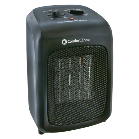 Comfort Zone Ceramic Heater, Black, CZ446WM