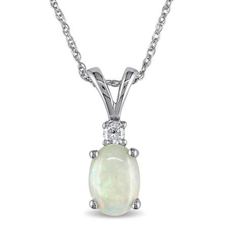 10k White Gold Opal and Diamond Fashion Necklace (Opal Diamond Necklace)