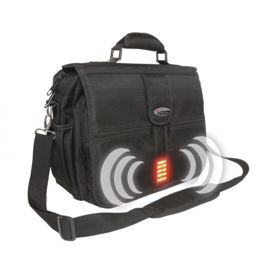 iSafe Laptop Briefcase Built-In Alarm Strobe Light Security Black Messenger Bag