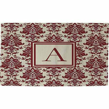 - Thumbprintz Damask Monogram Rug, Crimson